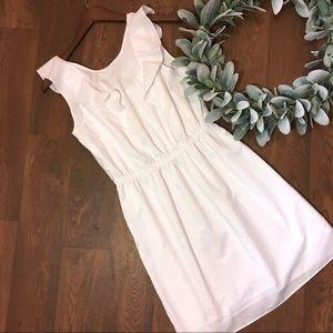 J. Crew - Ruffle-shoulder White Sleeveless Dress